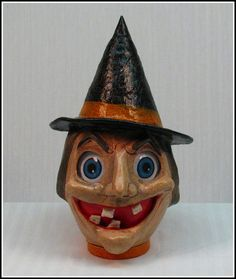 Handmade OOAK Halloween Happy Witch Candy Container Lantern Combo on Etsy, $87.50