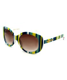 Love this Blue & Green Stripe Sunglasses by Betsey Johnson on #zulily! #zulilyfinds