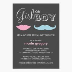 Gender Reveal Baby Shower Custom Announcements. A cute, whimsical gender reveal baby shower invitation with a mustache and pink lips against a chic dark background.