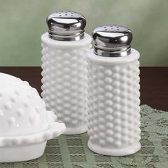 White Hobnail Butter Dish and Shakers - Zoom-I DON'T HAVE THESE S&P SHAKERS!!!