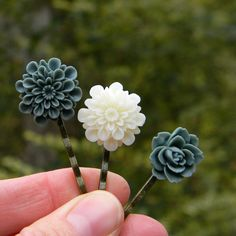 Woodland hairpins handmade hair clips nature inspired flower hair pins whimsical bobby pins woodland wedding hair accessories