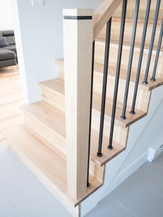 Interior Stair Railing, Stair Railing Design, Home Stairs Design, House Design, Railings, Staircase Remodel, Staircase Makeover, Hardwood Stairs, Miller Homes
