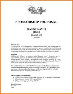 Sample Sport Event Sponsorship Proposal Template Free | Startup ...