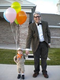 DIY Halloween Costumes - Father and son as characters from the movie UP Diy Halloween, Halloween Costumes You Can Make, Holidays Halloween, Happy Halloween, Halloween Design, Halloween Stuff, Vintage Halloween, Halloween Makeup, Diy Disfraces