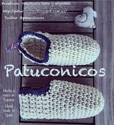 http://patuconicos.blogspot.com.es/  Patuconicos para todos, hecho a mano con lana y algodón:  - Patuco modelo: Slippers adulto nº 38 solo por encargo. (Mas gastos de envio).