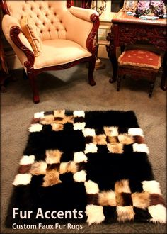 Plush PATCHWORK FUR Throw Rug / Art Carpet Accent /  Minky Soft Black and Browns / Chinchilla, Mink, Bear, Wolf, Fox, Rabbit, Coyote / New by BedspreadsAndThrows on Etsy https://www.etsy.com/listing/168835727/plush-patchwork-fur-throw-rug-art-carpet