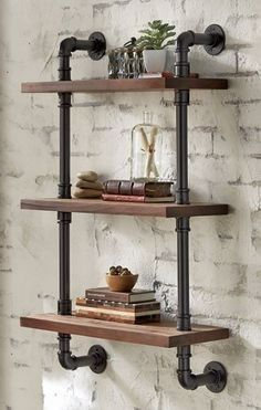 Industrial Style Furniture, Industrial Pipe Shelves, Industrial Home Design, Pipe Furniture, Industrial House, Rustic Industrial, Pipe Shelving, Diy Pipe Shelves, Room Shelves