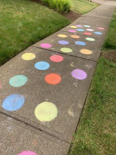 It's a polka dotty kinda day Sidewalk Chalk, Chalk Art, Stone, Day, Outdoor Decor, Rock, Sidewalk Chalk Paint, Stones, Batu