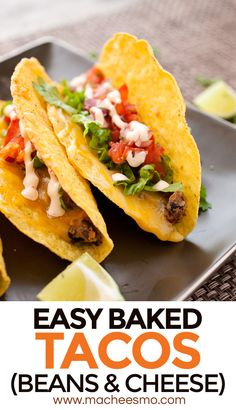 Easy Bean and Cheese Baked Tacos: Baking your tacos ensure the cheese gets super-melty and the filling stays hot! I like to make my own mashed bean mixture for these tacos and top them with a quick pico de gallo and sour cream sauce! Read the post for my THREE TACO TIPS for success!
