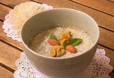 Kókuszos-vaníliás chia mag puding Puding, Cheeseburger Chowder, Oatmeal, Paleo, Soup, Gluten, Sweets, Vegan, Breakfast
