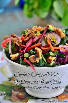 Confetti Chopped Kale, Walnut and Beet Salad {Raw, Gluten-Free, Dairy-Free, Vegan} #glutenfree