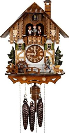 It is thought that the first cuckoo clocks were made in the in the Black Forest region of Germany, the Schwarzwald, now part of Baden Wuerttemberg. Old Clocks, Antique Clocks, Cuckoo Clocks, Brown Clocks, Coo Coo Clock, Black Forest Germany, Chalet Style, Father Time, Time Clock