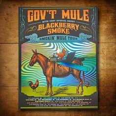 "Gov't Mule Blackberry Smoke 18"" X 24"" silk screened on special foil prism paper."