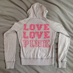 PINK Rhinestone Jacket PINK heather gray track jacket with Barbie pink writing on back detailed with rhinestones. Lightweight. PINK Victoria's Secret Jackets & Coats