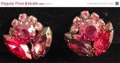 Vintage Red, Pink, & Cranberry Rhinestone Flower Earrings by MarlosMarvelousFinds, $12.75