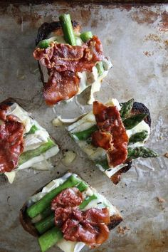 Asparagus, Crispy Prosciutto and Brie Tartines by Heather Christo. Appetizer recipe. Dinner is served.