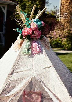 I love how she has a free pdf pattern to make this teepee. I also love how this tepee DIY is for a large size tee pee. Looks so fun _ I want one to read books in! Definitely going to try this idea.