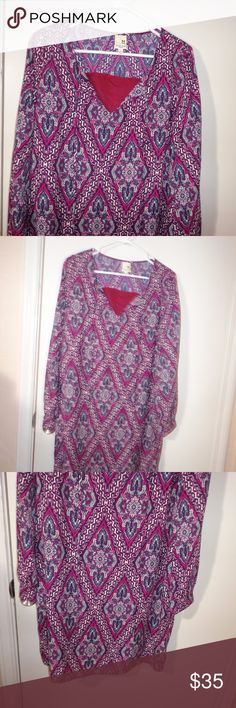Large Pink Owl Printed Dress - EUC pull over, shell and lining are polyester  hand wash  armpit to armpit 20 length 33 9/19 Pink Owl Dresses