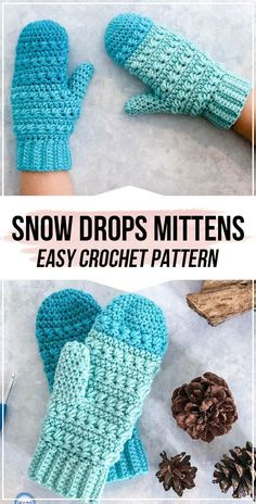 crochet Snow Drops Mittens pattern - easy crochet fingerless-mittens pattern for beginners Crochet Mitts, Crochet Mittens Free Pattern, Crochet Gloves, Easy Crochet, Free Crochet, Crochet Ideas, Crochet Headbands, Crochet Granny, Fingerless Mittens