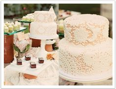 This pastel lace wedding cake was the focal point of this mexican-inspired dessert bar.  Event design by Alchemy Fine Events