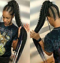 # goddess Braids with weave Braided wig/Ghana Weaving Braided Wig/ Full Lace Wig/ Cornrow Wig/ Baby hair Braided Ponytail Hairstyles, African Braids Hairstyles, My Hairstyle, Weave Hairstyles, Girl Hairstyles, 1950s Hairstyles, Long Ponytails, Teenage Hairstyles, Hairstyles Videos