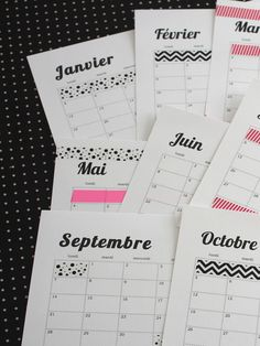 joli calendrier à customiser