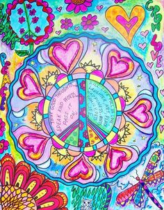 ☮ American Hippie Psychedelic Art ~ Hearts Peace Sign