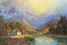 Beautiful large painting on canvas, stretched but without frame, signed by Rosen. A sun-kissed sky is behind snow-capped mountains that melt into a waterfall surrounded by dark green pine trees, opening to a winding blue river. Landscape Art, Landscape Paintings, Art Paintings, Africa Painting, Postmodern Art, Gabriel, South African Artists, Mountain Paintings, Large Painting