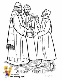 Coloring Picture of Judas Takes Silver At YesColoring  http://www.yescoloring.com/jesus-coloring.html Read In Your Bible How Crooked Judas Betrayed Jesus. (Matthew 26:14-16 and Luke 22)