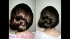How To: Classic Side Bun -- It's described as a fun, casual, easy hairdo, but I'm thinkin'... add a flower or something and BAM -- wedding hair?