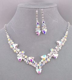 Silver With AB Crystal Rhinestone Necklace Earrings Set Fashion Jewelry NEW…