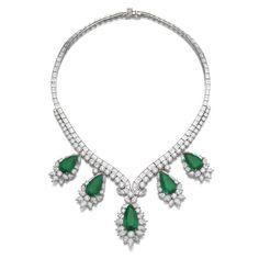Important emerald and diamond necklace, Harry Winston. Estimate 430,000 — 620,000 CHF.