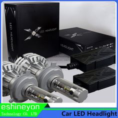 Universal Fanless Car Led Headlight Bulbs Conversion Kit H7 For Philip Chips Auto External Lights Source Replace Halogen Or HID