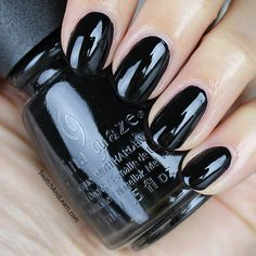 For those days when you want to walk on the dark side, China Glaze Liquid Leather is a black nail polish that fits the bill! (See the in-depth review on SwatchAndLearn.com from several years ago.)