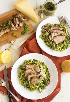 Pistachio Pesto Zucchini Noodles With Roasted Pork Tenderloin {Low Carb, Lower Fat, Gluten Free + High Protein} - Food Faith Fitness