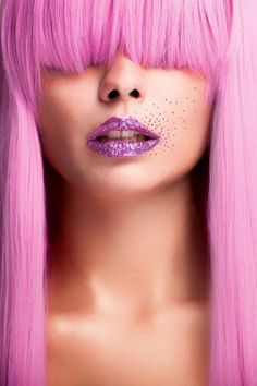 Purple Sugar by Mattes Miller on Panthères Roses, I Believe In Pink, Coloured Hair, Everything Pink, Glamour, Pink Lips, Beauty Photography, Pink Hair, Hair Hacks