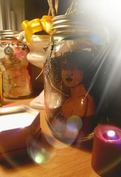 Watercolor Witch Art Hand Altered Gratitude/Wish/Hope/Manifestation Jar by Carole Anzolletti by ThePhantomQueensLab on Etsy