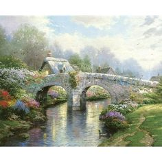 Blossom Bridge by Thomas Kinkade ~ Blossom Lane I, Published September, 1995 - I came upon a scene in Ireland where ancient footpaths wind their way over an old stone bridge to a distant village. It was all so green that I began to add brightly colored flowers... and suddenly a riot of colors took over. - Thomas Kinkade  more