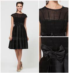 A-line Jewel Knee-length Chiffon And Satin Bridesmaid Dress With Bow(s)