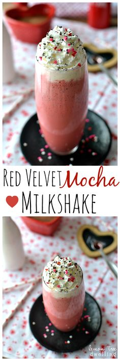 Red Velvet Mocha Milkshake ~  Red Velvet meets Mocha in a delicious milkshake – complete with a touch of cream cheese! The perfect treat for Valentine's Day!