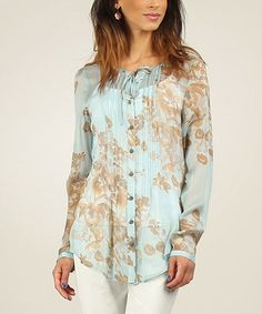 Look what I found on #zulily! Green Water & Light Brown Sheer Pleated Blouse by Fred Sabatier #zulilyfinds