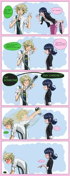 "cat-puns-and-camembert: "" Just a dumb idea that I had. I don't usually make comics buts here you go. Pre-reveal, Adrien and Marinette are getting a little more comfortable with each other and Plagg is still controlled by his stomach. Whoops. """