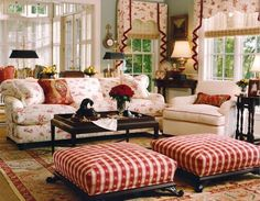 Living Room , Elegant Country Style Living Rooms : French Country Style  Living Rooms With Ottomans And Couches And Dark Coffe Table