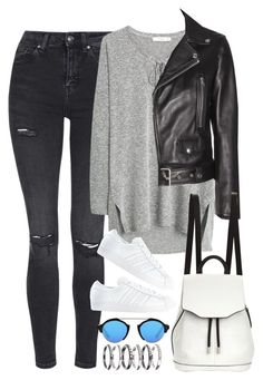 """Sem título #1049"" by oh-its-anna ❤ liked on Polyvore featuring Topshop, MANGO, Acne Studios, rag & bone, Illesteva, adidas and M.N.G"