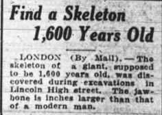 Giant Human Skeletons: Ancient Giant Human Skeleton Uncovered in Downtown London, England