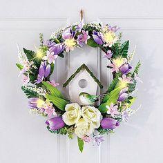 "Spring Easter Wreath Pre-Lit Tulip & Birdhouse Front Door Floral Decor 16""Diam #SmartDealsMarket"