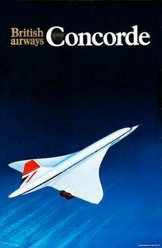 Vintage 'British Airways' Concord Poster