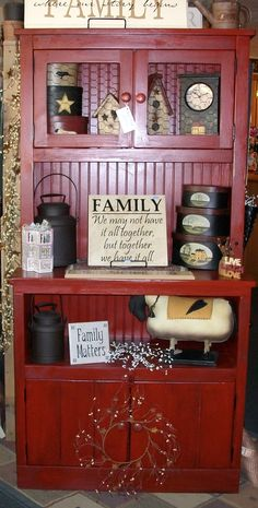 Simply Wood is locally made and handcrafted. With over 15 years experience in the woodwork industry you can see the quality and care that go into each piece making his work stand out above the rest. This cabinet is done in a deep red glazed finish. The top shelf  has chicken wire door to give it a country look.   Stop in to The Willow Tree today .  www.facebook.com/the.willow.tree.kuna