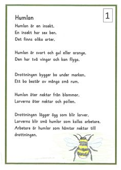 humlan3-page-0 Learn Swedish, Swedish Language, Classroom Inspiration, Teaching Science, Pre School, Activities For Kids, Kindergarten, Religion, Education
