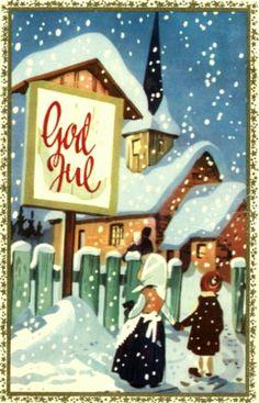 Julekort Bratlie. Ved kirken. Utg Aune. Stemplet 1963.